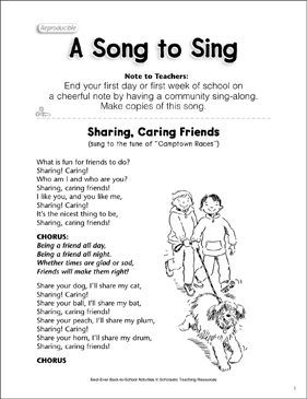 A Song to Sing: Back-to-School Friendship Song - Printable Worksheet