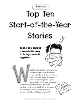 Top 10 Start-of-the-Year Stories: Books and Ideas - Printable Worksheet