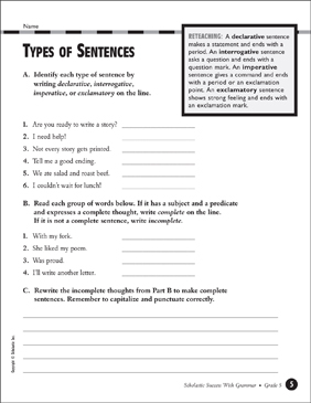 types of sentences grade 5 printable test prep tests and skills sheets. Black Bedroom Furniture Sets. Home Design Ideas