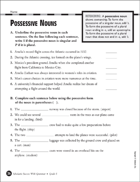 Possessive Nouns (Grade 5) - Printable Worksheet