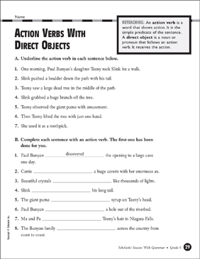 Action Verbs With Direct Objects - Grade 5 - Printable Worksheet