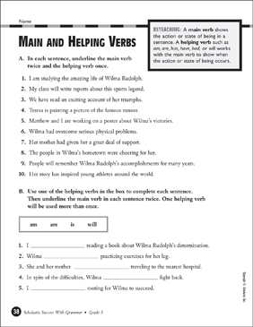 Main and Helping Verbs (Grade 5) | Printable Test Prep ...