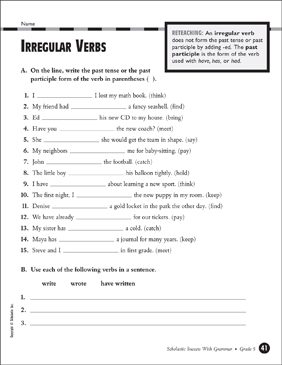 Irregular Verbs (Grade 5) - Printable Worksheet