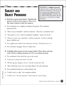 Subject and Object Pronouns (Grade 5) - Printable Worksheet