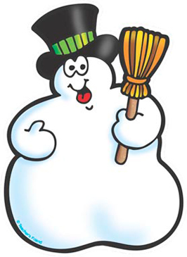 Snowman with Broom - Image Clip Art