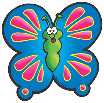 Pink and Blue Butterfly - Image Clip Art