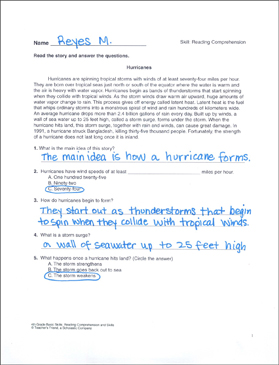 Hurricanes: Reading Comprehension Passage With Questions - Printable Worksheet