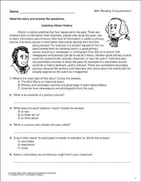 History: Reading Comprehension Passage With Questions - Printable Worksheet