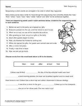 Sequencing Words: Reading Comprehension Skills - Printable Worksheet