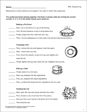 Putting Sentences in Sequential Order: Reading Comprehension Skills - Printable Worksheet