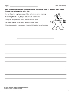 Sequencing Sentences: Reading Comprehension Skills - Printable Worksheet