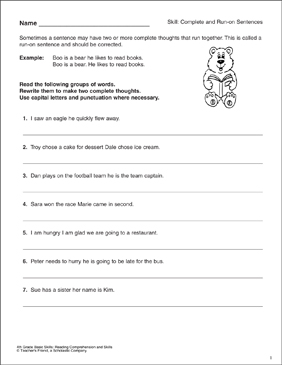 Complete and Run-on Sentences: 4th Grade Reading Skills - Printable Worksheet
