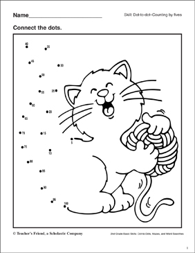 Dot-to-Dot - Cat and Yarn - Printable Worksheet