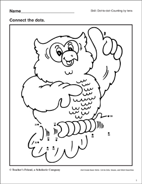 Dot-to-Dot - Owl - Printable Worksheet