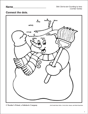Dot-to-Dot - Snowman - Printable Worksheet