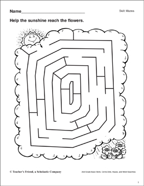 Maze - Sunshine to Flowers - Printable Worksheet