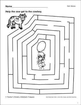 Maze - Cow to Cowboy - Printable Worksheet