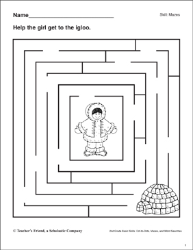 Maze - Girl to Igloo - Printable Worksheet