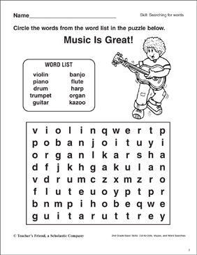 Word Search - Musical Instruments - Printable Worksheet
