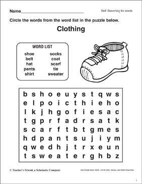 Word Search - Clothing - Printable Worksheet