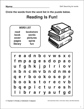 Word Search - Books - Printable Worksheet