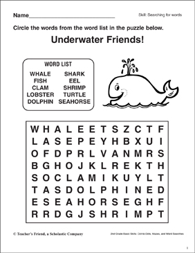 photo relating to Animals Word Search Printable identify Phrase Look - Underwater Pets Printable Term Lookups