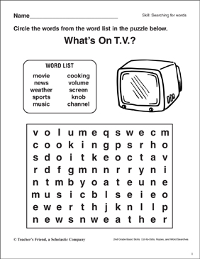 Word Search - Television - Printable Worksheet