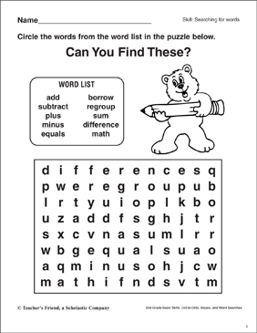 Word Search - Math - Printable Worksheet