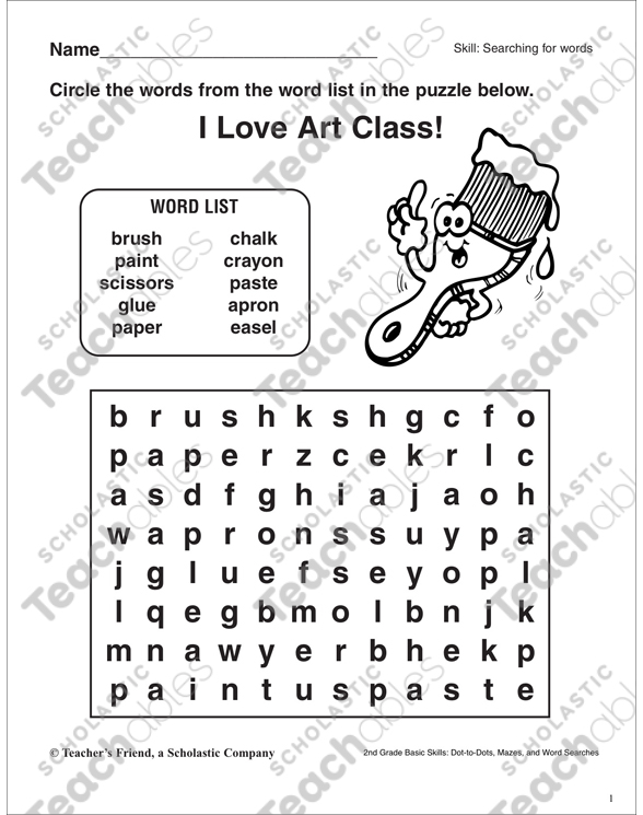 Word Search - Art Supplies | Printable Word Searches and