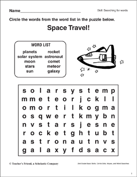 Word Search - Space - Printable Worksheet
