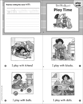 Play Time (Play, With): Sight Word Readers Mini-Books & More - Printable Worksheet