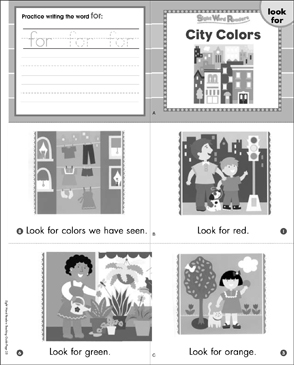City Colors (Look, For): Sight Word Reader - Printable Worksheet