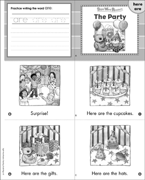 The Party (Here, Are): Sight Word Reader - Printable Worksheet