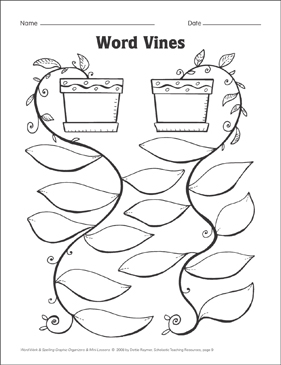 Word Vines (word patterns) Organizer & Mini-Lesson - Printable Worksheet