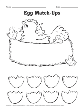 Egg Match-Ups (word parts) Organizer & Mini-Lesson - Printable Worksheet