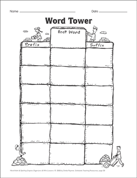 Word Tower (affixes) Organizer & Mini-Lesson - Printable Worksheet