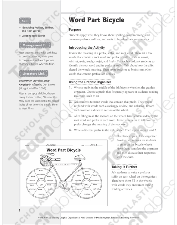 Word Part Bicycle Organizer Minilesson Printable Graphic. See Inside. Worksheet. Worksheet On Identifying Root Words At Clickcart.co
