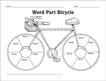 Word Part Bicycle Organizer & Mini-Lesson - Printable Worksheet