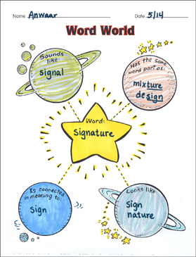 Word World (spelling) Organizer & Mini-Lesson - Printable Worksheet