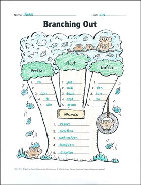 Branching Out (affixes) Organizer & Mini-Lesson - Printable Worksheet