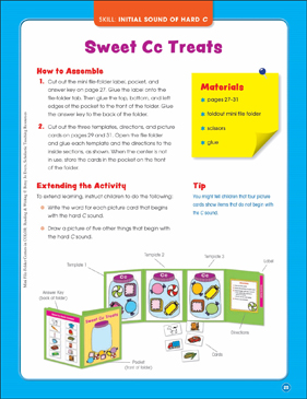 Sweet Cc Treats (Initial Sound of Hard C): Mini File-Folder Center (Grades K-1) - Printable Worksheet