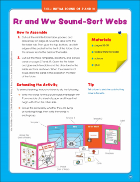 Rr and Ww Sound-Sort Webs (Initial Sound of R and W): Mini File-Folder Center (Grades K-1) - Printable Worksheet
