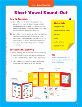 Short Vowel Sound-Out: Mini File-Folder Center (Grades K-1) - Printable Worksheet