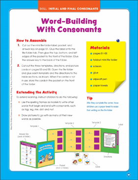 Word-Building With Consonants (Initial and Final Consonants): Mini File-Folder Center (Grades K-1) - Printable Worksheet