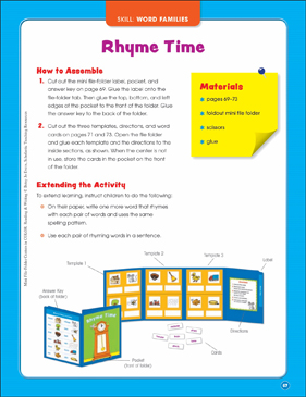 Rhyme Time (Word Families): Mini File-Folder Center (Grades K-1) - Printable Worksheet