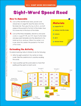 Sight-Word Speed Read (Sight Word Recognition): Mini File-Folder Center (Grades K-1) - Printable Worksheet