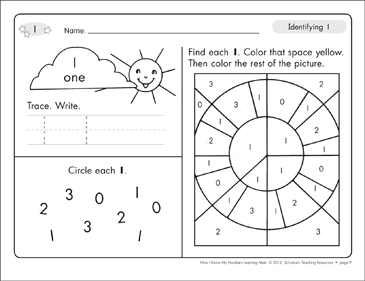 Identifying 1 and One/Counting to 1: Number Learning Mats - Printable Worksheet