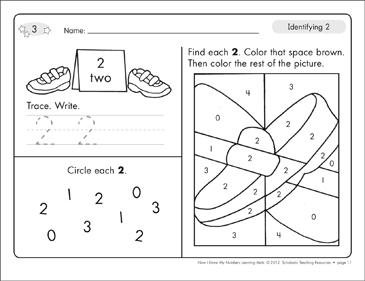 Identifying 2 and Two/Counting to 2: Number Learning Mats - Printable Worksheet