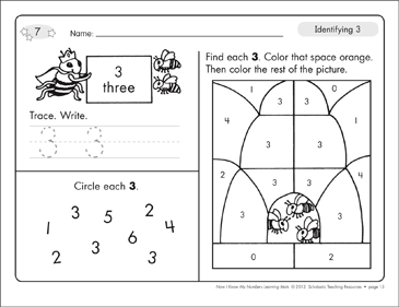 Identifying 3 and Three/Counting to 3: Number Learning Mats - Printable Worksheet