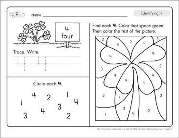 Identifying 4 and Four/Counting to 4: Number Learning Mats - Printable Worksheet